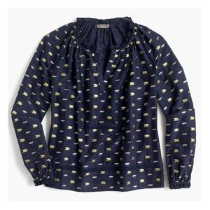 J.Crew Metallic Arrow Print Blouse